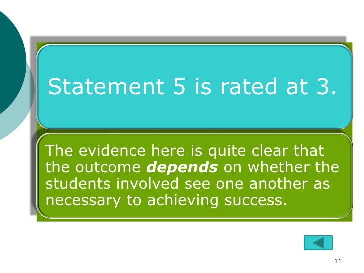 Statement 5 is rated at 3.The evidence here is quite clear thatthe outcome depends on whether thestudents involved see one...