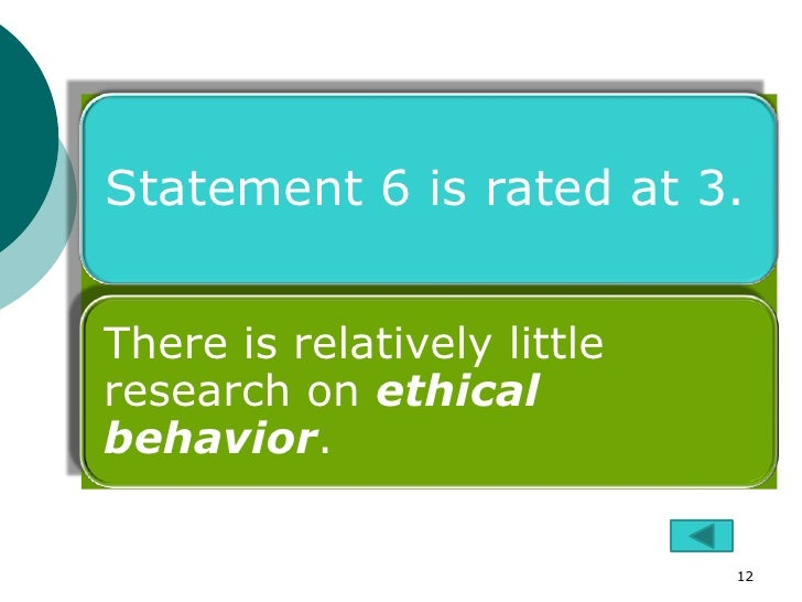 Statement 6 is rated at 3.There is relatively littleresearch on ethicalbehavior.                             12