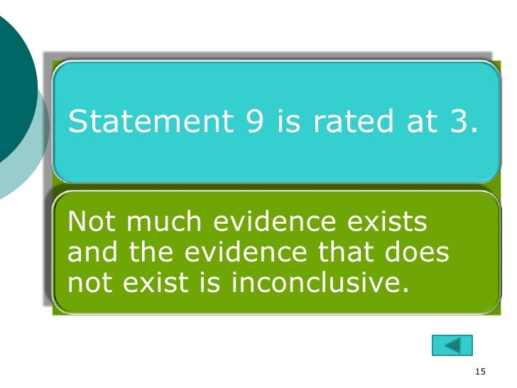Statement 9 is rated at 3.Not much evidence existsand the evidence that doesnot exist is inconclusive.                    ...