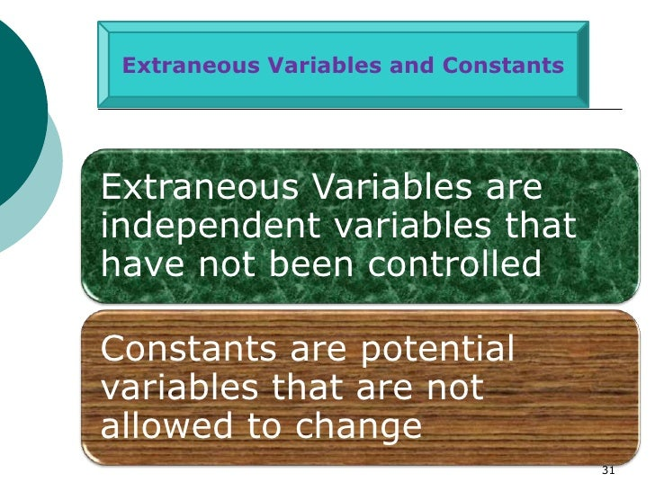 Extraneous Variables and ConstantsExtraneous Variables areindependent variables thathave not been controlledConstants are ...