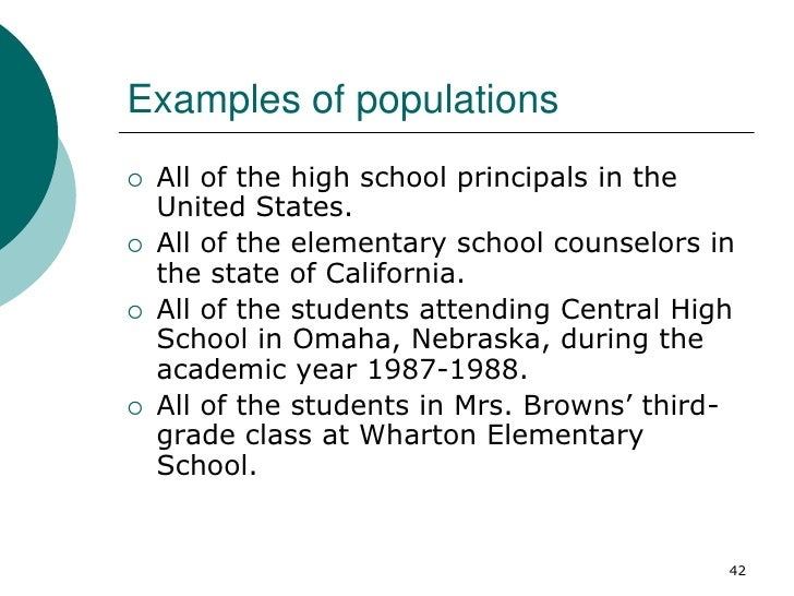 Examples of populations   All of the high school principals in the    United States.   All of the elementary school coun...