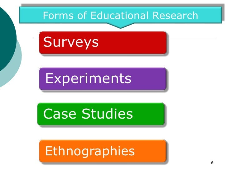 Forms of Educational ResearchSurveysExperimentsCase StudiesEthnographies                                6