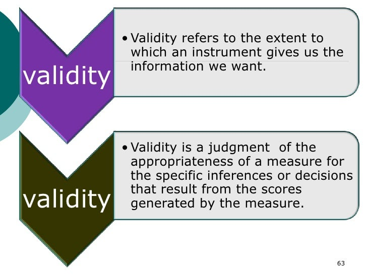 • Validity refers to the extent to             which an instrument gives us the             information we want.validity  ...