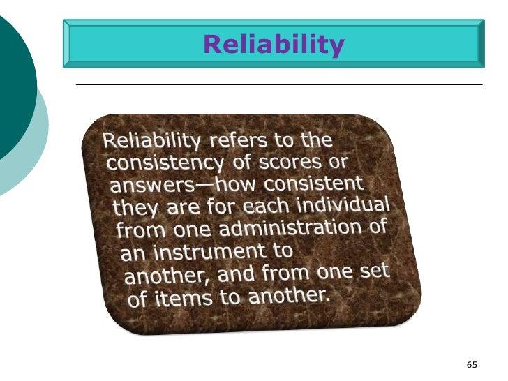 Reliability              65