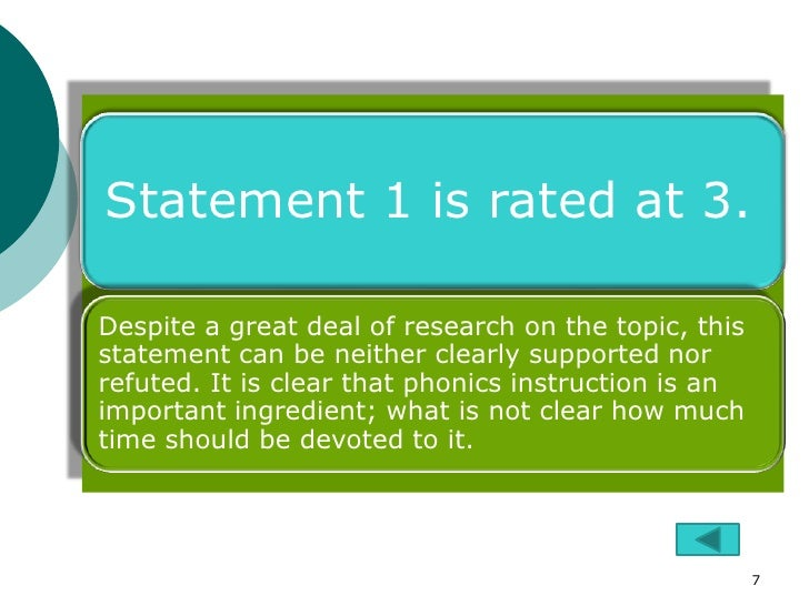 Statement 1 is rated at 3.Despite a great deal of research on the topic, thisstatement can be neither clearly supported no...