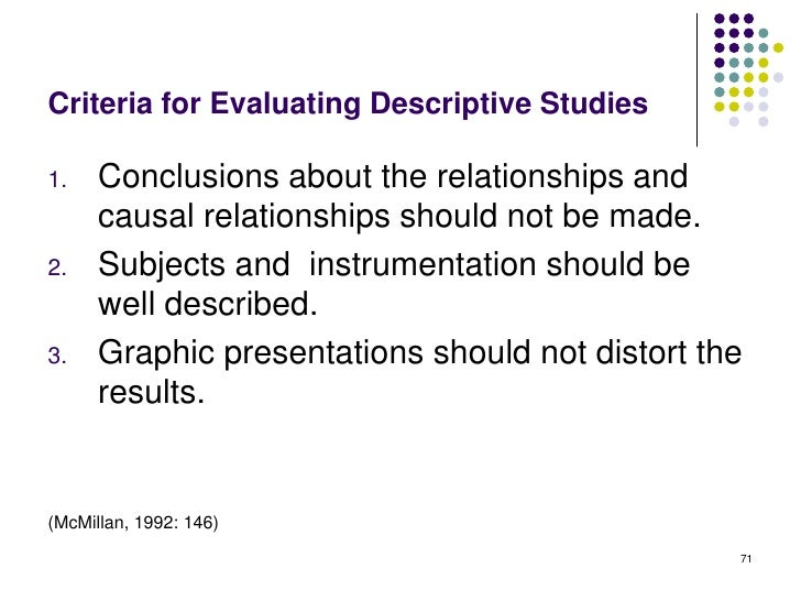 Criteria for Evaluating Descriptive Studies1.    Conclusions about the relationships and      causal relationships should ...