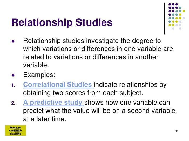 Relationship Studies          Relationship studies investigate the degree to           which variations or differences in...