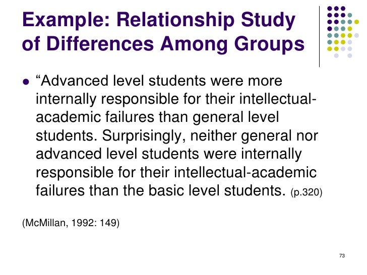 Example: Relationship Studyof Differences Among Groups   ―Advanced level students were more    internally responsible for...