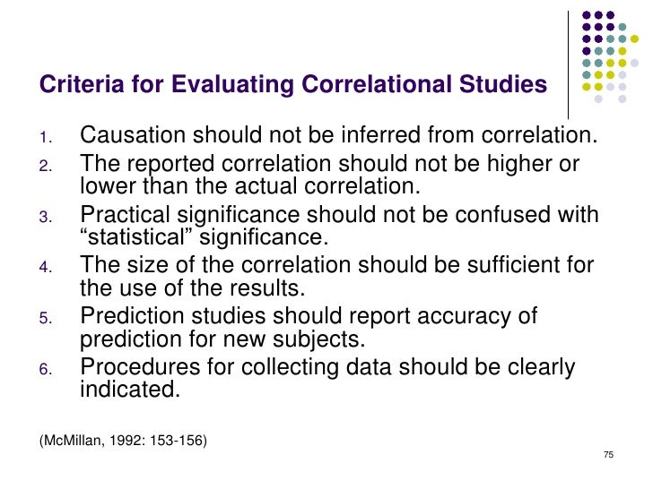 Criteria for Evaluating Correlational Studies1.    Causation should not be inferred from correlation.2.    The reported co...