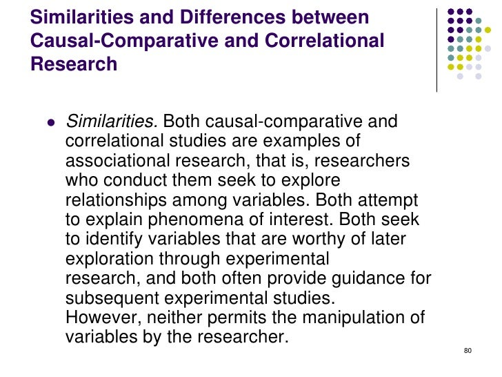 Similarities and Differences betweenCausal-Comparative and CorrelationalResearch    Similarities. Both causal-comparative...