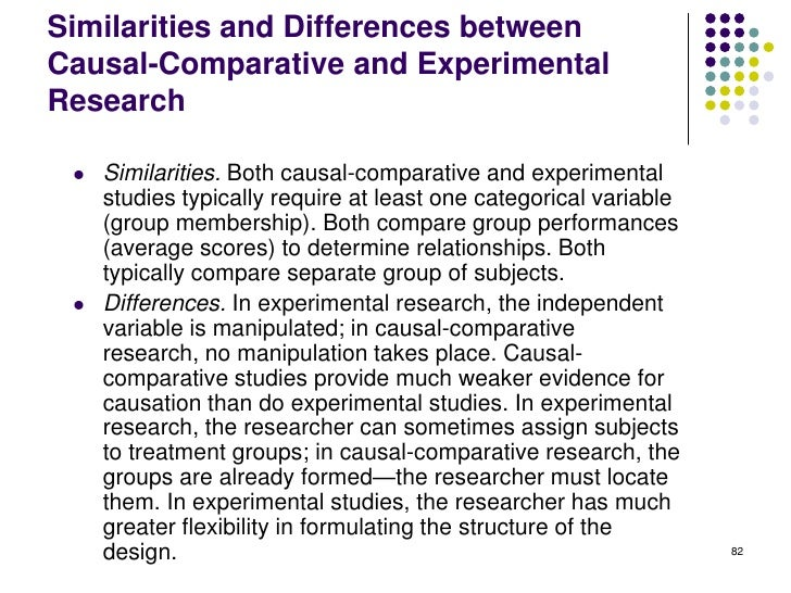 Similarities and Differences betweenCausal-Comparative and ExperimentalResearch    Similarities. Both causal-comparative ...