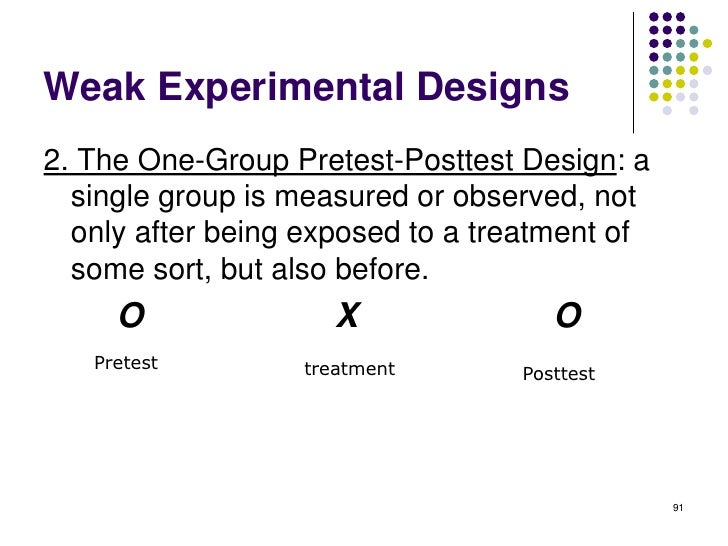 Weak Experimental Designs2. The One-Group Pretest-Posttest Design: a  single group is measured or observed, not  only afte...