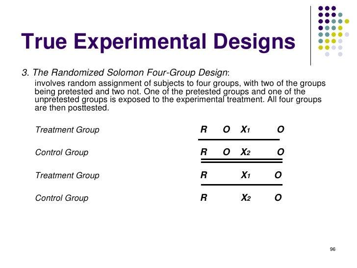 True Experimental Designs3. The Randomized Solomon Four-Group Design:  involves random assignment of subjects to four grou...