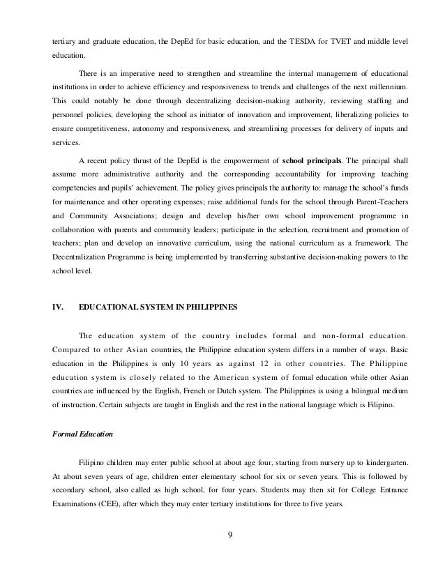 the disadvantage of the trifocalization of the philippine education system Pre-service and in-service teacher education paper is to present the system and mechanism of pre-service and in-service teacher education in the philippine.