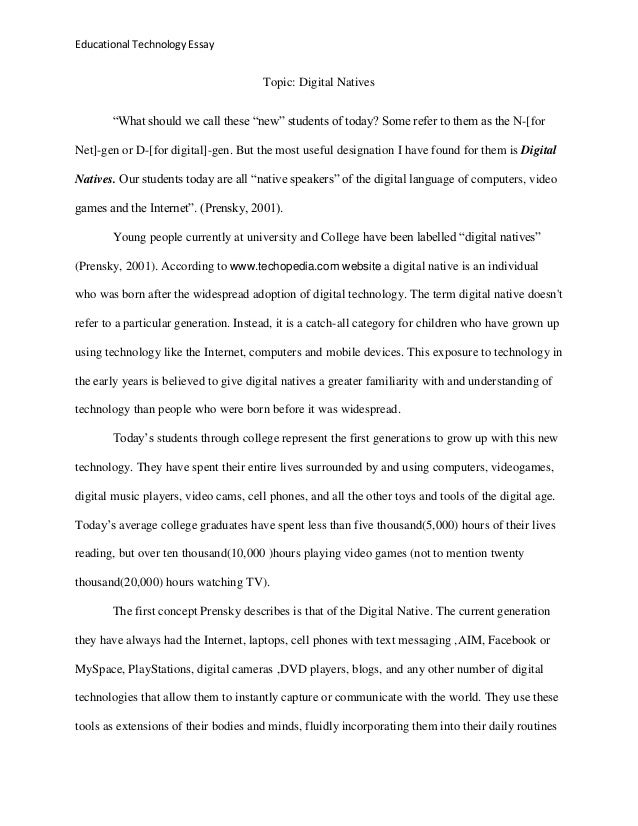 educational technology essay educational technology essay topic digital natives ""