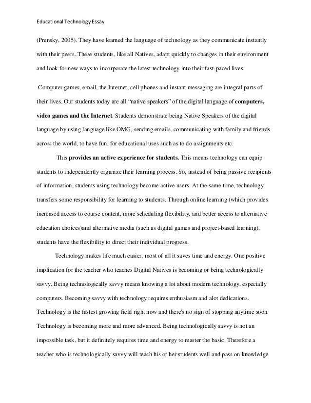Educational Technology Essay Educational Technology Essay  Thesis Of A Compare And Contrast Essay also English Literature Essay Structure  Essay For Science