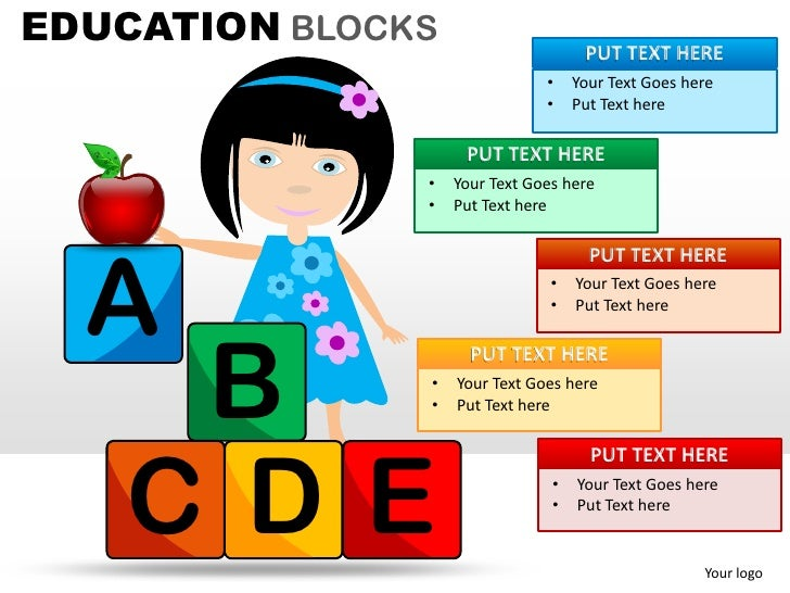 EDUCATION BLOCKS                     PUT TEXT HERE                               •    Your Text Goes here                 ...