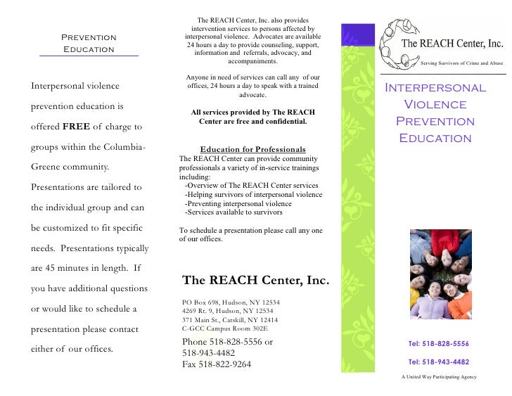 The REACH Center, Inc. also provides                                     intervention services to persons affected by     ...