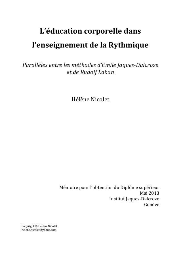L'éducation  corporelle  dans   l'enseignement  de  la  Rythmique      Parallèles  entre  les  mét...