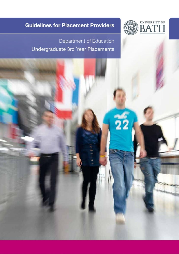 Guidelines for Placement Providers             Department of Education  Undergraduate 3rd Year Placements