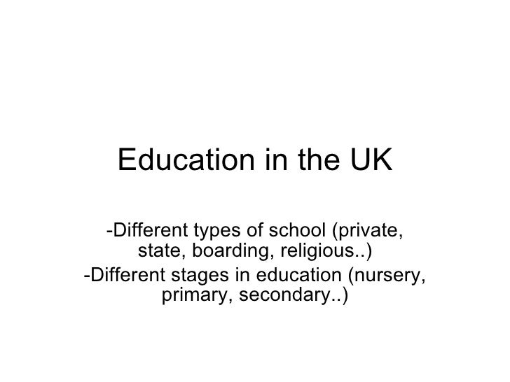 Education in the UK -Different types of school (private, state, boarding, religious..) -Different stages in education (nur...