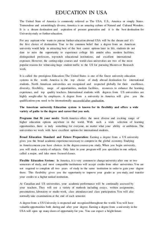 International students in america essay