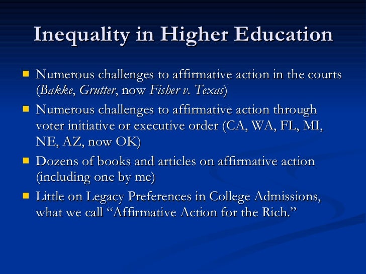 a call to affirmative action in higher education In her book, the diversity bargain, natasha warikoo, associate professor of education at harvard, explores the views of affirmative action among students at three elite colleges.