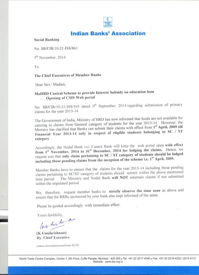 "Indian Banks' Association Social Banking  No.  SB/ CIR/10-21-ISS/861  5""' November,  2014  To:   The Chief Executives of M..."