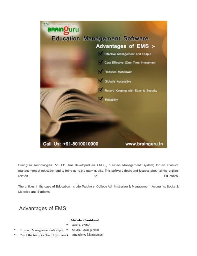Brainguru Technologies Pvt. Ltd. has developed an EMS (Education Management System) for an effective management of educati...