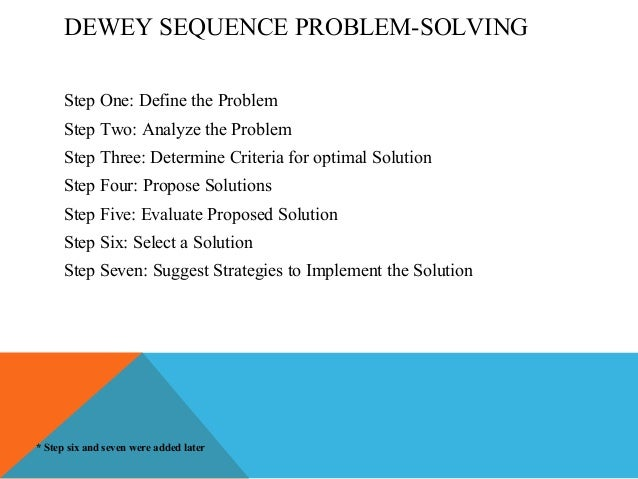 in deweys problem solving model step three is to ________