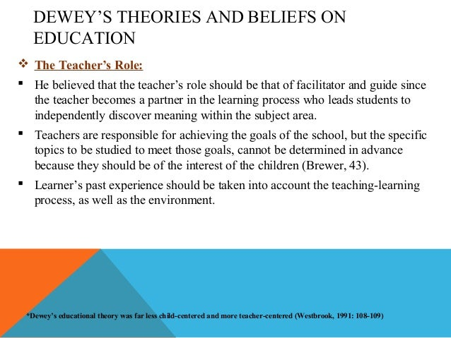 the role of theory in educational John dewey is probably most famous for his role in what is called progressive education progressive education is essentially a view of education that emphasizes the need to learn by doing.