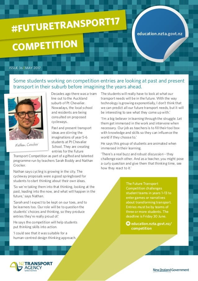 Some students working on competition entries are looking at past and present transport in their suburb before imagining th...
