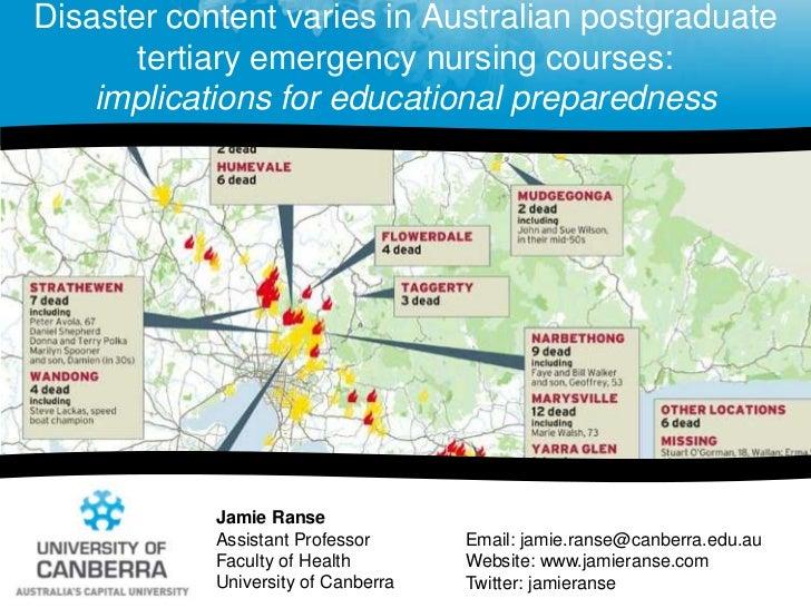 Disaster content varies in Australian postgraduate tertiary emergency nursing courses: implications for educational prepar...
