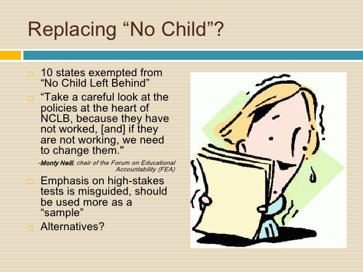 no child left behind debate essay The no child left behind act - child essay example many people debate on the desirability and the effectiveness of the measures of nclb.