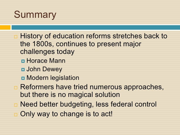 education reform in america  just not budgeted correctly 27 summary history of education reforms