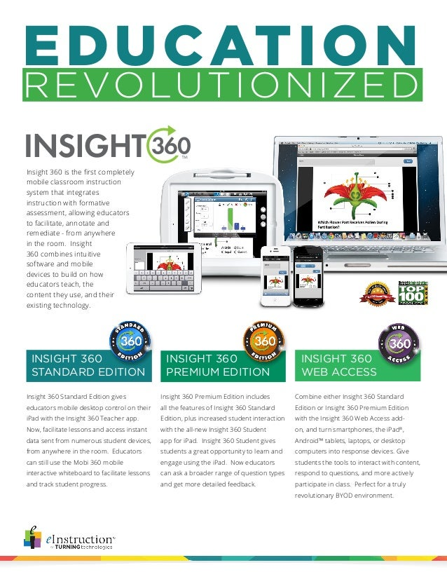 EDUCATION REVOLUTIONIZED Insight 360 Premium Edition includes all the features of Insight 360 Standard Edition, plus incre...
