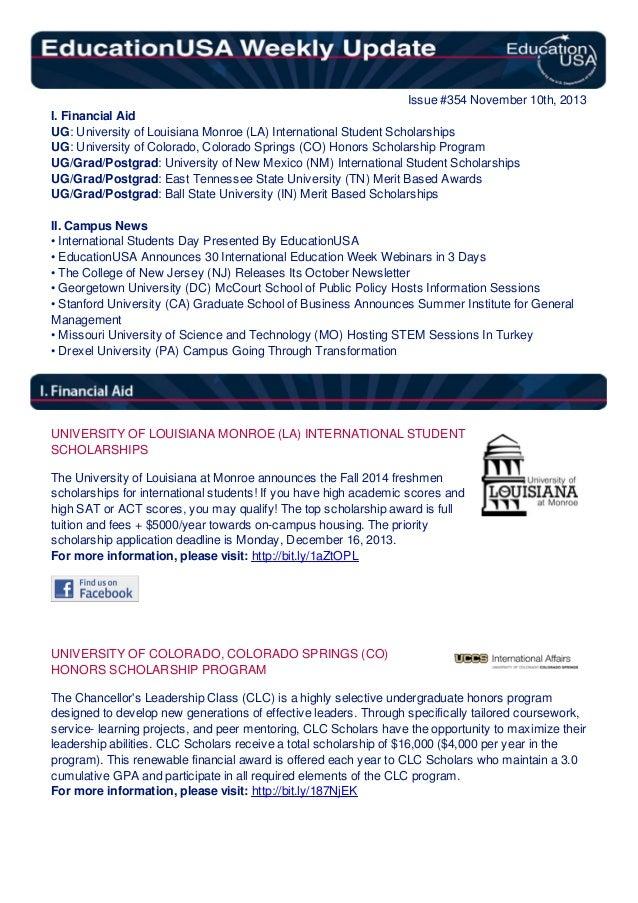 EducationUSA Weekly Update, #354, November 11, 2013