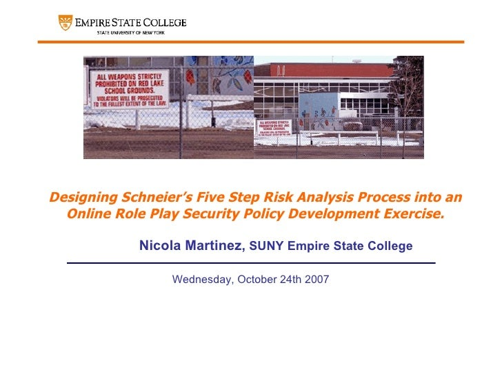 Designing Schneier's Five Step Risk Analysis Process into an Online Role Play Security Policy Development Exercise. <ul><u...