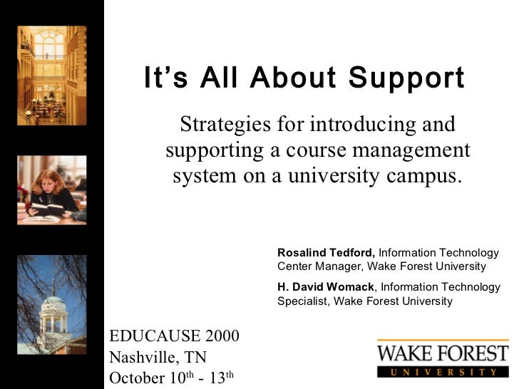 It's All About Support Strategies for introducing and supporting a course management system on a university campus. Rosali...