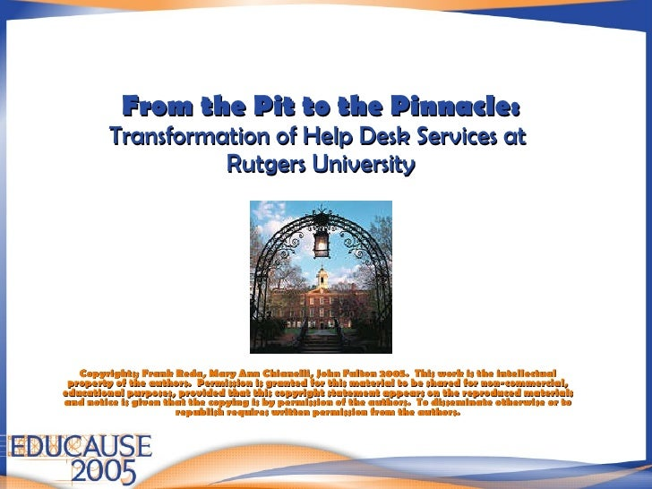 Good From The Pit To The Pinnacle: Transformation Of Help Desk Services At  Rutgers University Copyrights ... Nice Look