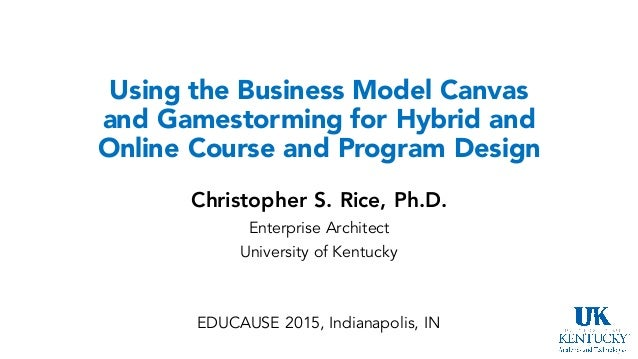Using the Business Model Canvas and Gamestorming for Hybrid and Online Course and Program Design Christopher S. Rice, Ph.D...
