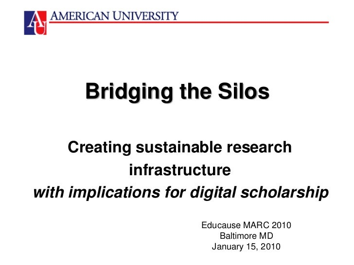 Bridging the Silos<br />Creating sustainable research<br />infrastructure<br />with implications for digital scholarship<b...