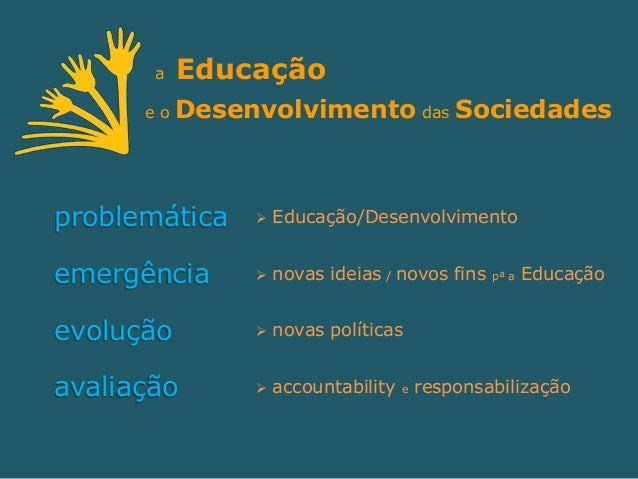a   Educação      eo   Desenvolvimento das Sociedadesproblemática       Educação/Desenvolvimentoemergência         novas...