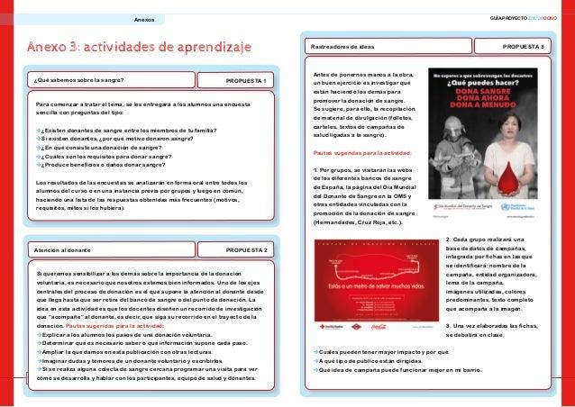 26 27 GUÍA PROYECTO EDUCODONOAnexos Anexo 3: actividades de aprendizaje PROPUESTA 1¿Qué sabemos sobre la sangre? Para come...