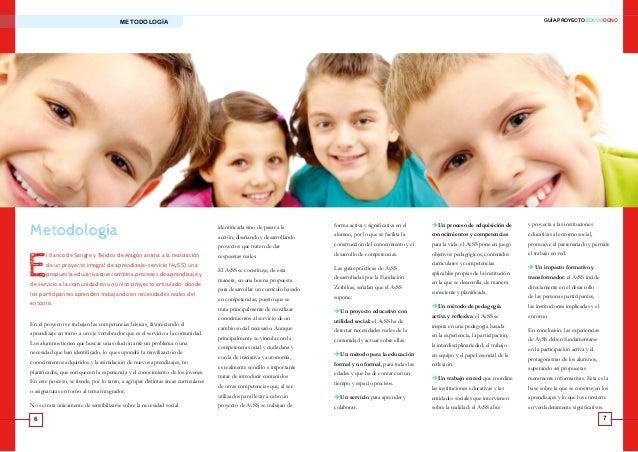 6 7 GUÍA PROYECTO EDUCODONOMETODOLOGÍA Metodología E l Banco de Sangre y Tejidos de Aragón anima a la realización de un pr...