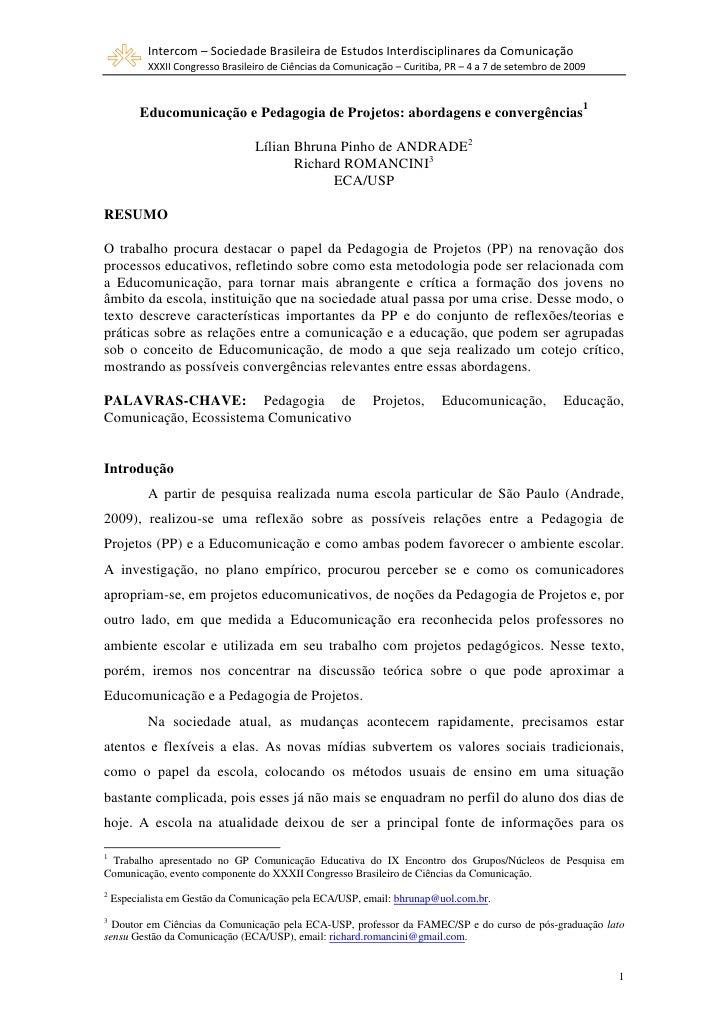 Intercom – Sociedade Brasileira de Estudos Interdisciplinares da Comunicação            XXXII Congresso Brasileiro de Ciên...