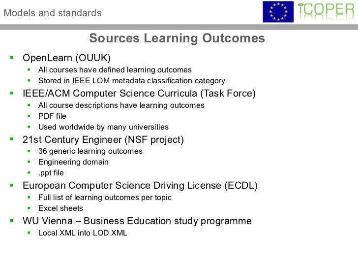 Sources Learning Outcomes  <ul><li>OpenLearn (OUUK) </li></ul><ul><ul><li>All courses have defined learning outcomes </li>...