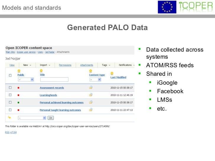 Generated PALO Data Models and standards <ul><li>Data collected across systems </li></ul><ul><li>ATOM/RSS feeds </li></ul>...