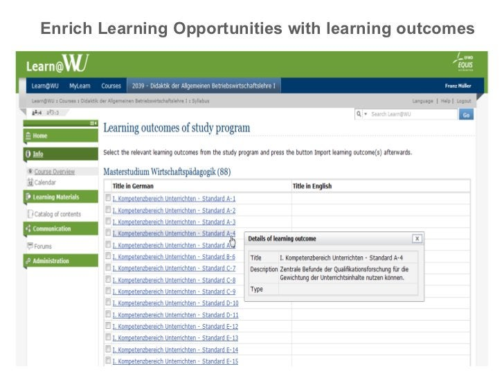 Enrich Learning Opportunities with learning outcomes