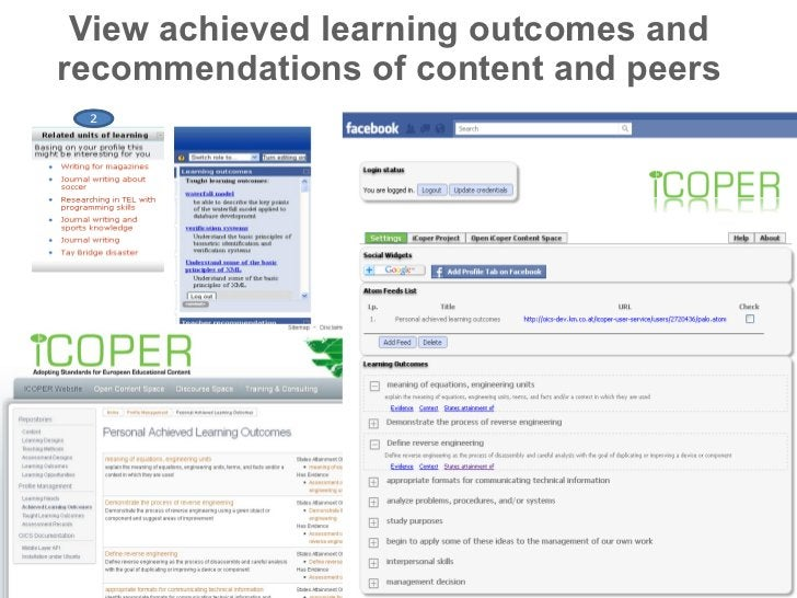 View achieved learning outcomes and recommendations of content and peers